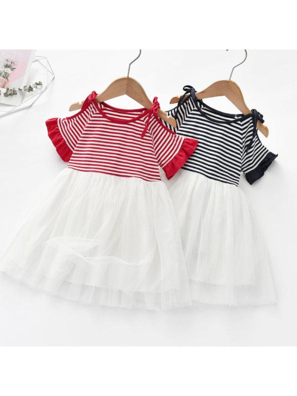 【18M-7Y】Girls Sweet Striped Off Shoulder Short Sleeved Mesh Dress