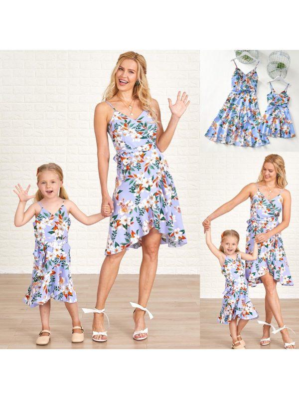 Sweet Blue Flowers Asymmetrical Sling Mom Girl Matching Dress