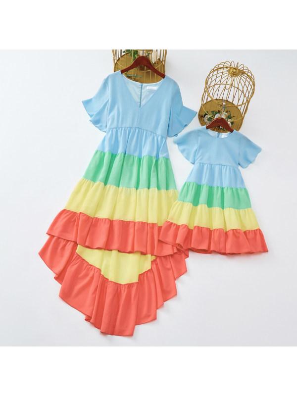Sweet Color Block Short Sleeve Mom Girl Matching Dress - 1305