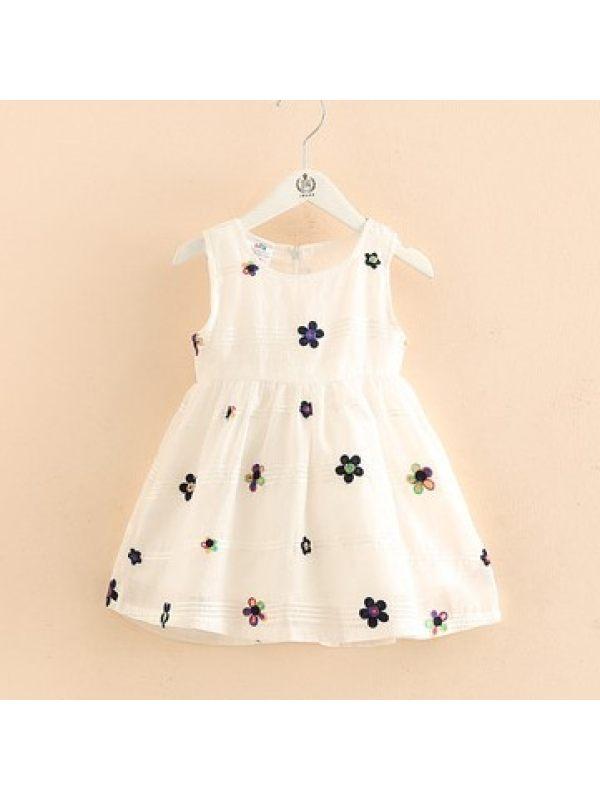 【18M-9Y】Girls Fresh Sweet Embroidered Sleeveless Dress