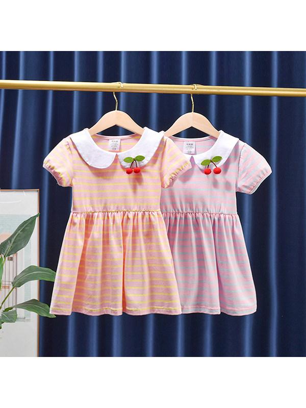 【12M-7Y】Girls' Doll Collar Striped Short Sleeve Dress