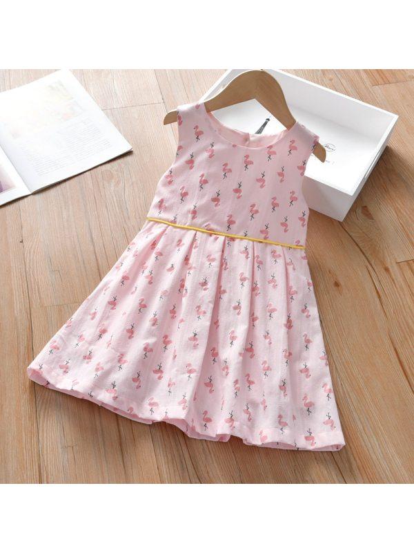 【18M-7Y】Girls Sweet Print Sleeveless Dress