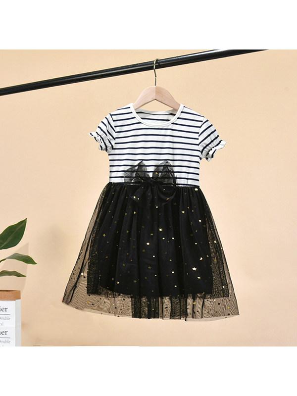 【18M-7Y】Girls' Round Neck Short-sleeved Striped Stitching Star Sequined Mesh Dress