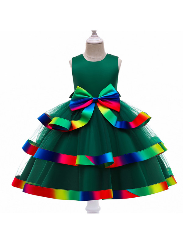 【3Y-11Y】Sweet Colorful Bow Multi-layer Cake Dress