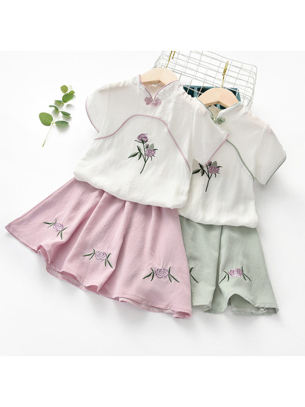 【2Y-11Y】Girls Fresh Retro Embroidery Short-sleeved Top Skirt Suit