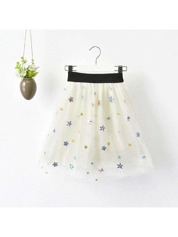 【18M-11Y】Girls Star Embroidered Soft Mesh Bust Tutu Skirt