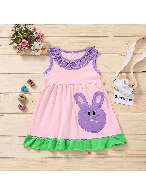 【18M-7Y】Girls Pink Round Neck Sleeveless Cartoon Embroidery Dress
