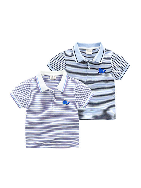 【18M-7Y】Boys Cartoon Print Striped Short-sleeved Polo Shirt