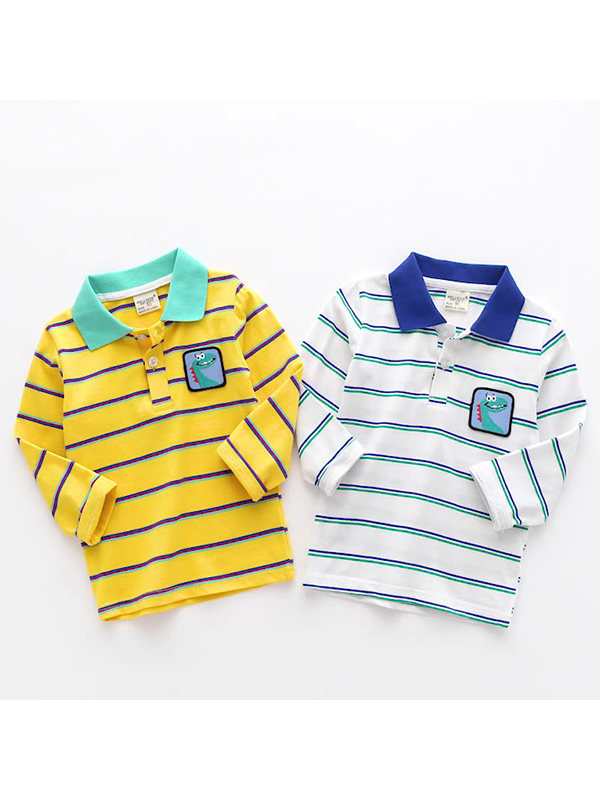 【18M-7Y】Boys Striped Cartoon Print Polo Shirt