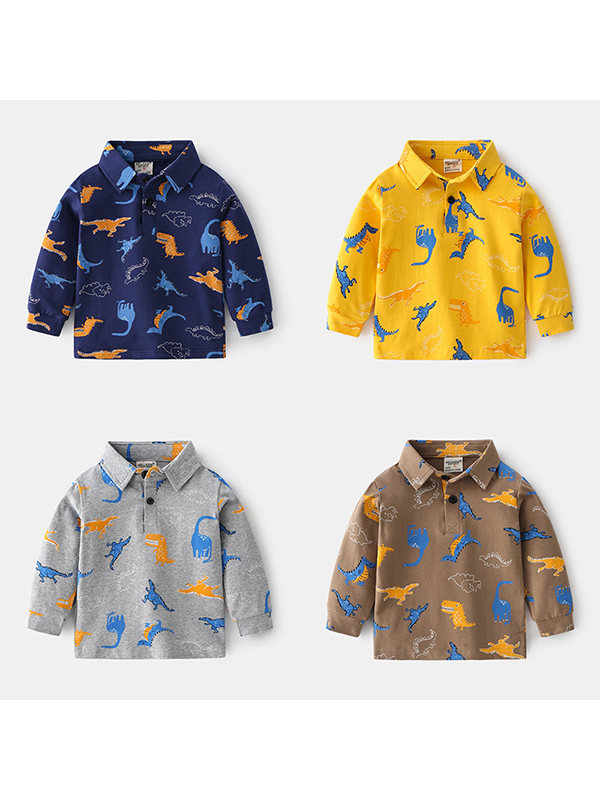 【18M-7Y】Boys Long Sleeve Dinosaur Print Polo Shirt