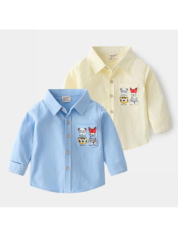 【18M-7Y】Boys Cartoon Print Long Sleeve Shirt