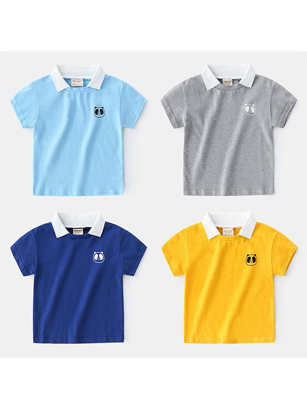 【18M-7Y】Boys Lapel Short Sleeve T-shirt
