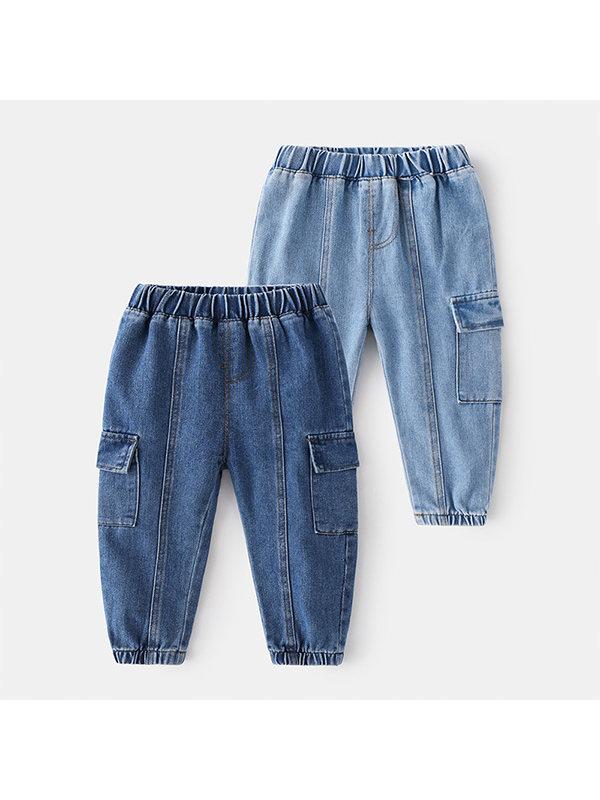 【18M-7Y】Boys Denim Panelled Trousers