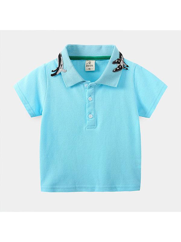【18M-7Y】Boys Short-sleeved Cartoon Print Polo Shirt