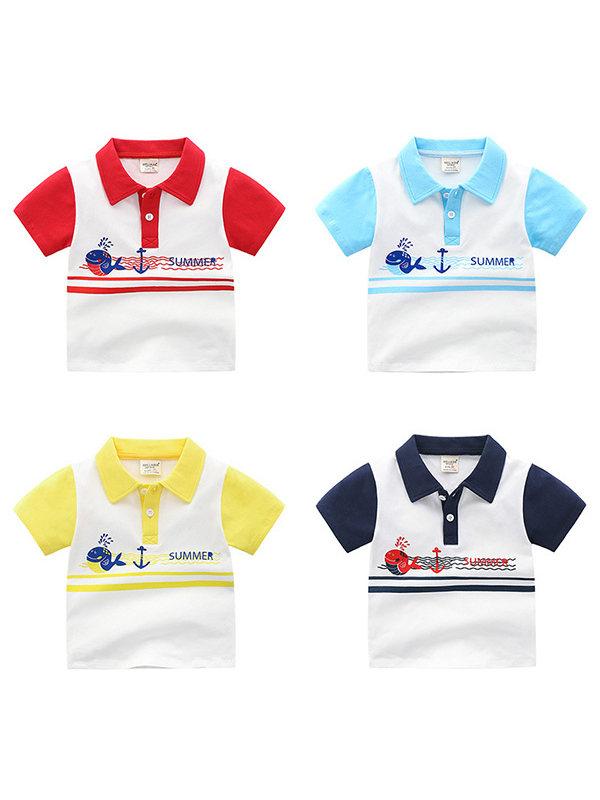 【18M-7Y】Boys' Contrast Stitching Cartoon Print Short-sleeved Polo Shirt