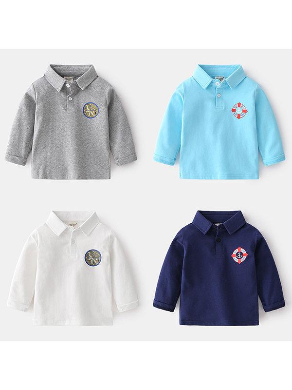 【18M-7Y】Boys Long Sleeve Printed POLO Shirt