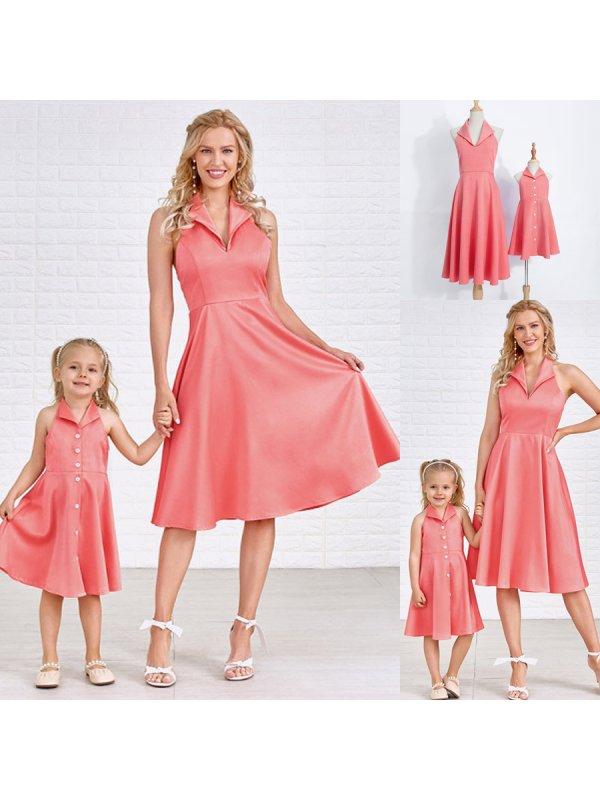 Solid Color V-Neck Mom Girl Matching Dress