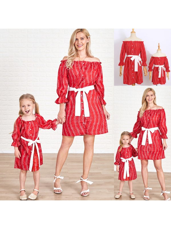 Off-Shoulder Long Sleeve Lace Up Bow Mom Girl Matching Dress
