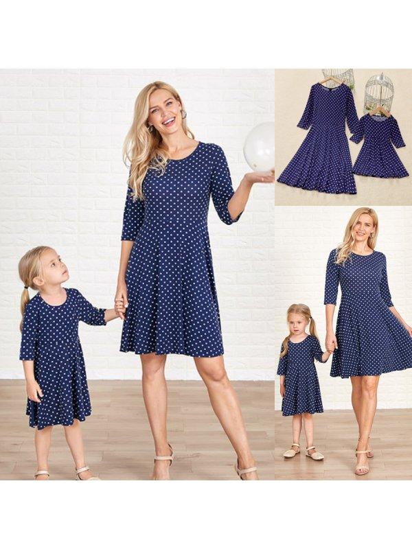 Casual Round Neck Long Sleeve Blue Polka Dot Knitting Mom Girl Matching Dress
