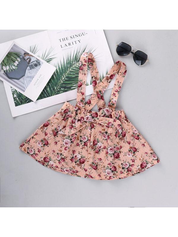 【12M-5Y】Girls Fresh Sweet Flowers Full Print Suspender Skirt