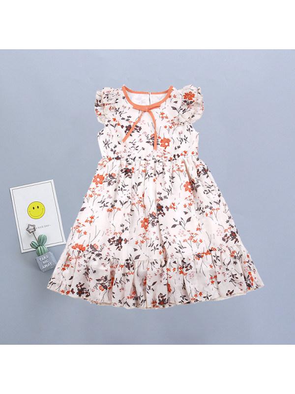 【3Y-11Y】Girls Fresh Sweet Floral Chiffon Sleeveless Dress