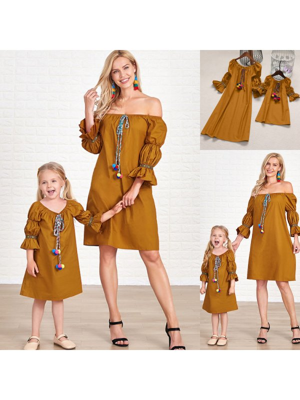 Lantern Sleeves Pompon Decorated Mom Girl Matching Dress