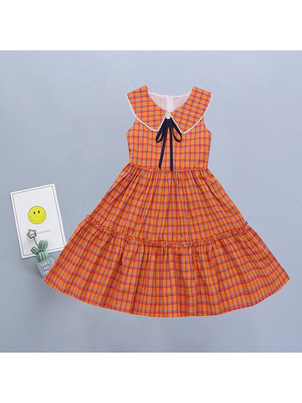 【3Y-11Y】Girls Sweet Doll Collar Plaid Sleeveless Dress