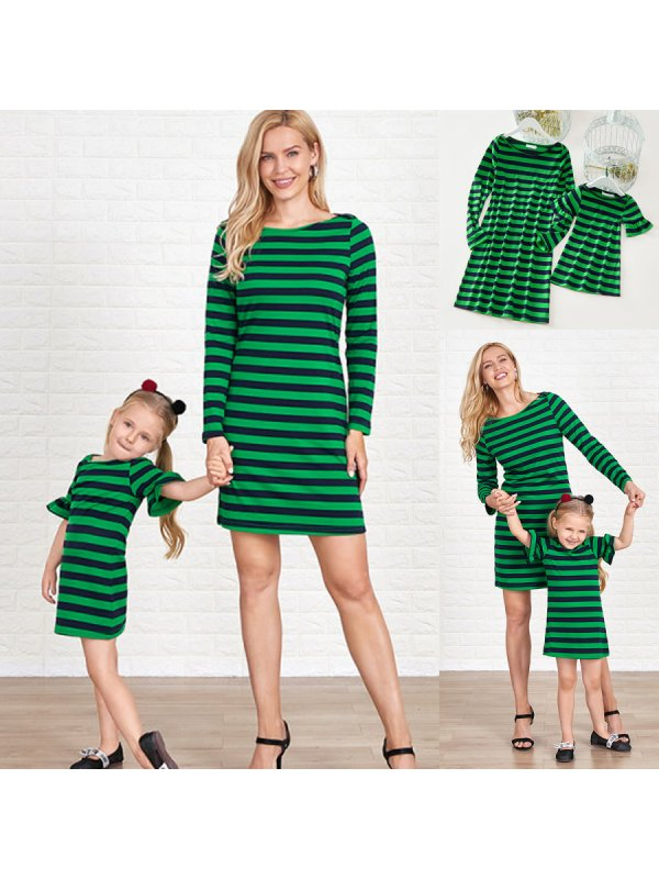 Casual Green Knitted Striped Round Neck Long Sleeves Mom Girl Matching Dress