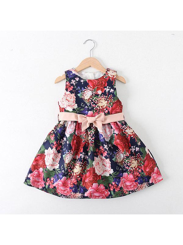 【18M-7Y】Girls Bowknot Flower Sleeveless Dress