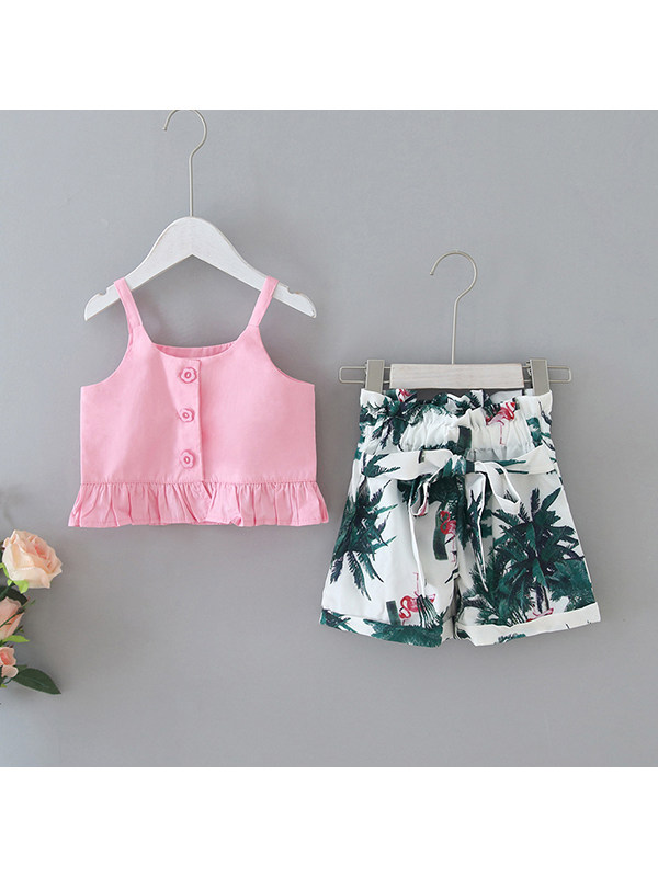 【12M-5Y】Girls New Style Ruffled Sling Top Flamingo Print Shorts Suit