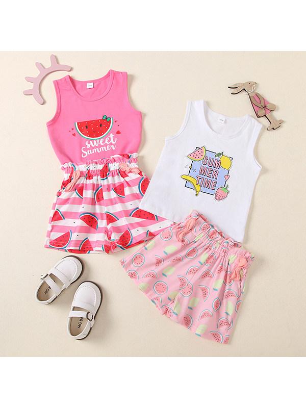 【18M-5Y】Girls Round Neck Sleeveless Cartoon Fruit Print Vest with Full Print Shorts Set