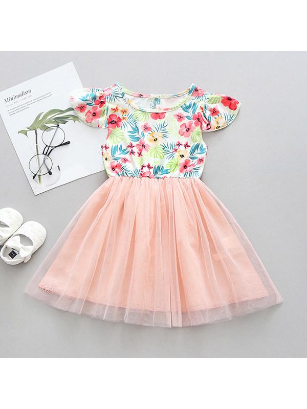 【12M-5Y】Girls Round Neck Flying Sleeves Flower Printed Mesh Patchwork Dress