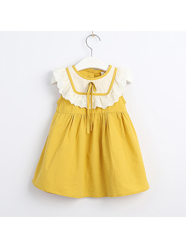 【12M-5Y】Girls Cotton Round Neck Sleeveless Contrast Bow Lace Dress