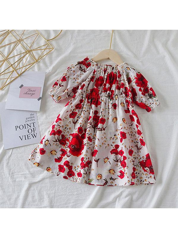 【18M-7Y】Girls Short-sleeved Floral Dress