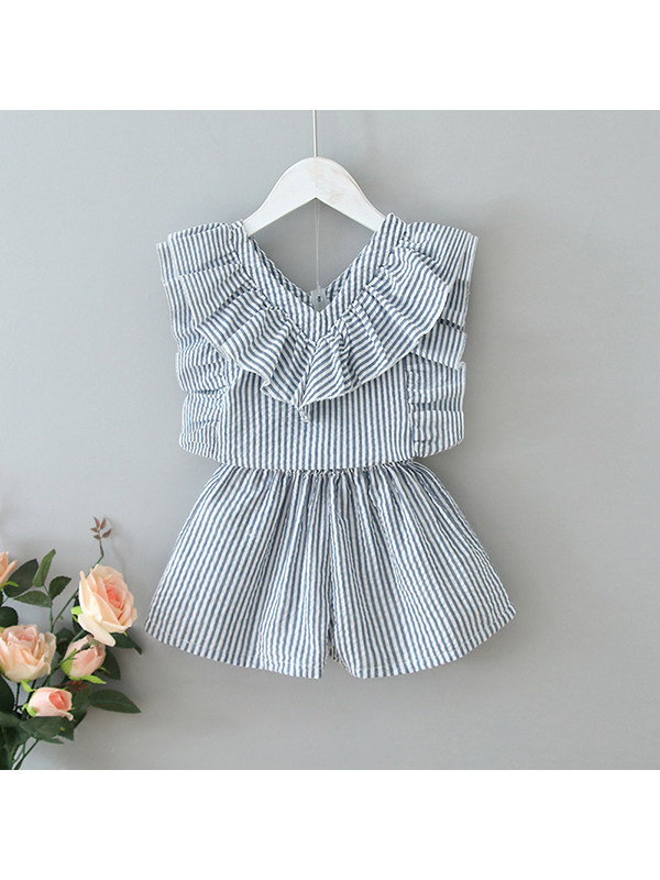 【18M-7Y】Girls Striped Ruffled Top with Shorts Two-piece Suit