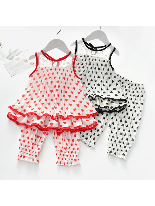 【18M-7Y】Girls Sweet Heart Pattern Chiffon Top Pants Set