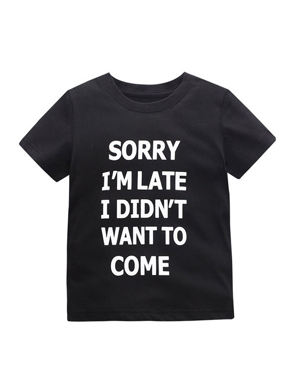 【18M-9Y】Boys Printed Letters Short Sleeve T-shirt