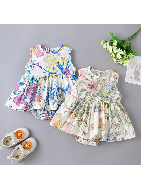 【3M-24M】Baby Girl Round Neck Sleeveless Floral Jumpsuit
