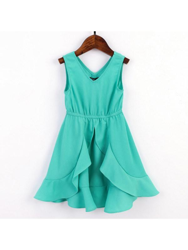 【18M-7Y】Sweet V-neck Green Ruffle Dress
