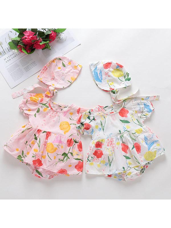 【3M-24M】Baby Girl Round Neck Puff Sleeve Flower With Hat One-piece