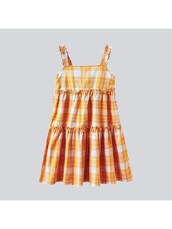 【3Y-13Y】Big Girl's Stitching Plaid Suspender Skirt