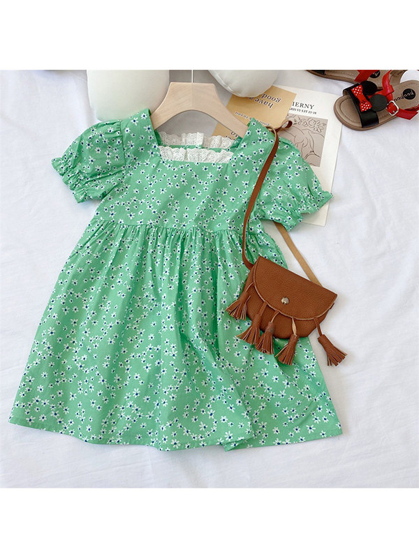 【18M-7Y】Girls' A-line Green Flower Bank Dress