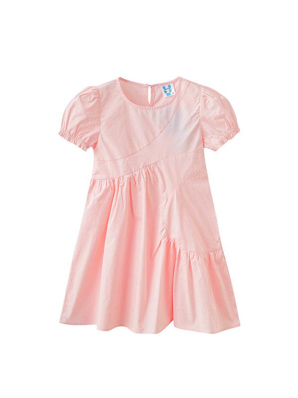 【3Y-13Y】Big Girl Short-sleeved Stitching Dress