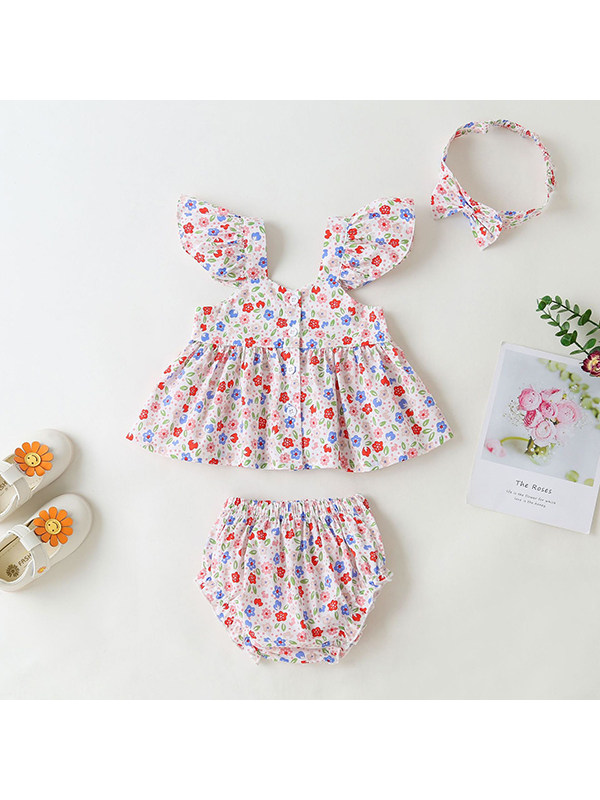 【3M-24M】Baby Girl Cotton Flying Sleeve Square Neck Floral Top with Briefs Set