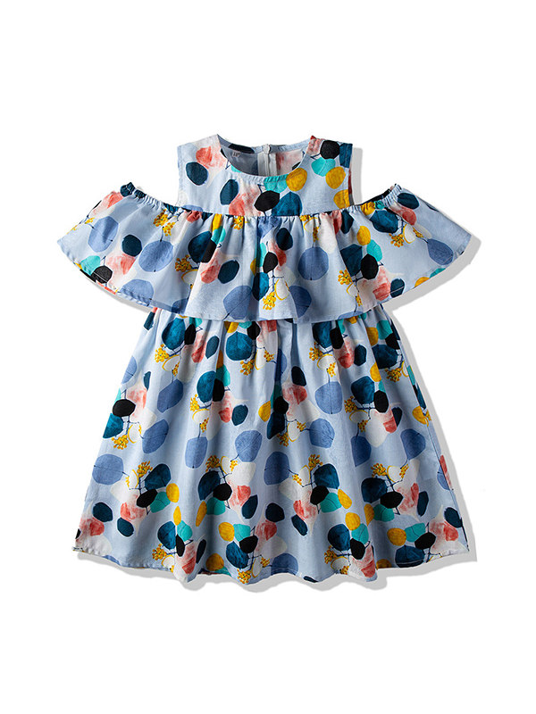 【18M-7Y】Girls' Polka Dot Off Shoulder Sleeve Vest Dress