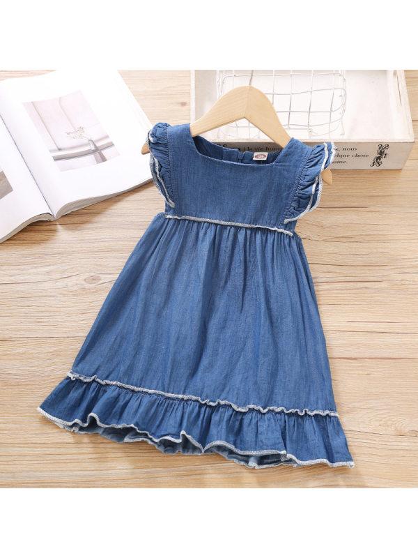 【18M-7Y】Girls Sweet Denim Short Sleeve Dress