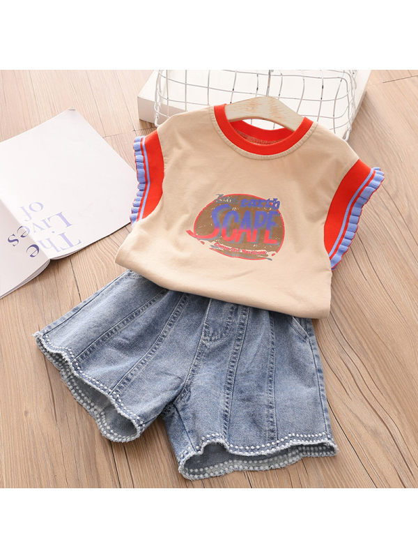 【3Y-13Y】Girls Short Sleeve Vest Denim Shorts Sports Suit