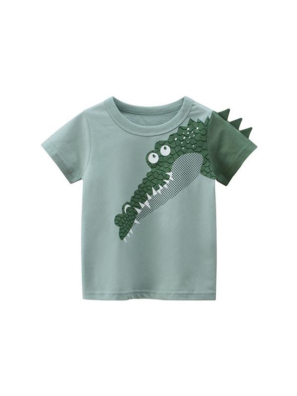 【18M-9Y】Boys Crocodile Print Short Sleeve T-shirt