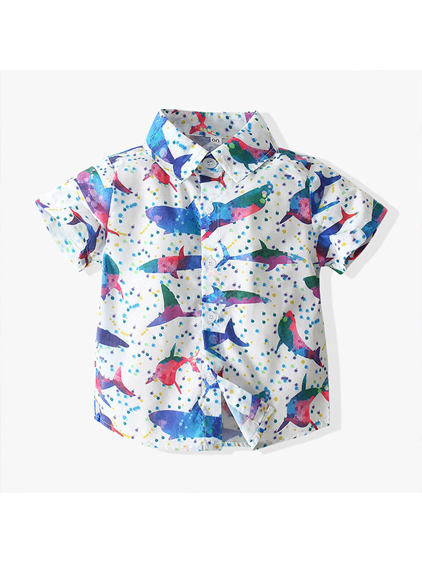 【12M-7Y】Boys' Holiday Style Short-sleeved Shirt