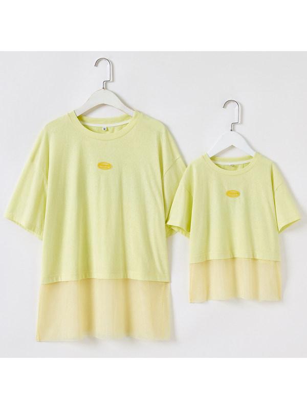 Round Neck Short Sleeve Mom Girl Matching T-shirt Dress - 1332